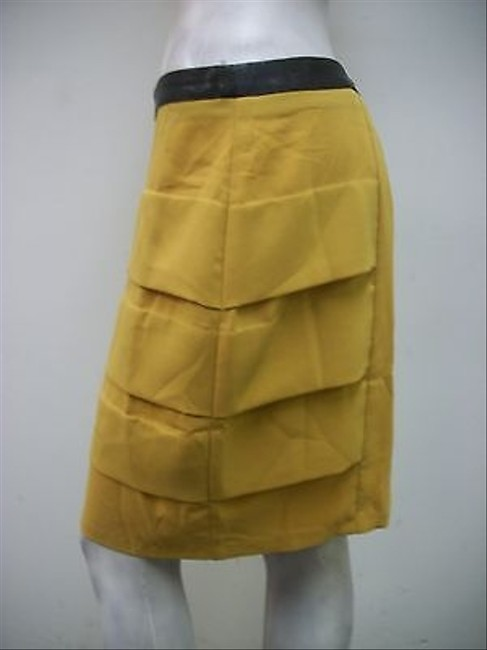 Aryn K Tiered Faux Leather Waist Straight Skirt Yellow
