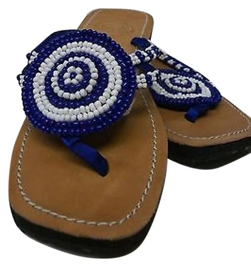 Other Meeka Beaded Flip Flops Royal White With Thongs Blue Sandals