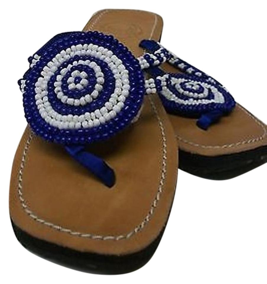 5042e9ec4 Other Meeka Beaded Flip Flops Royal White With Thongs Blue Sandals Image 0  ...