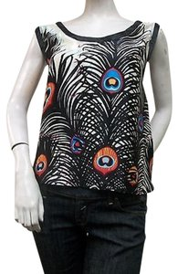 Jaloux Peacock Feather Print Silk Asymmetric Hem Top Multi-Color