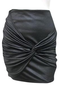 MINKPINK Metallic Sheen Satin Twisted Front Mp2191i Mini Skirt Black