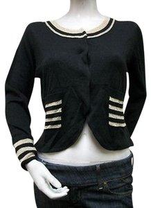 Tulle Metallic Stripe Accented Scoop Neck Cardigan I1708 Sweater