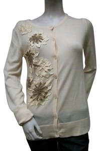 Theme Cream Colored Cardigan Tmk041 Floral Applique Sweater