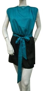 C. Luce Luce Color Block Black Teal Dolman Mini Ld6424 Elastic Waist Dress
