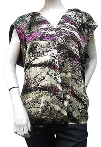 Jaloux J39551 V Neck Gathered Elastic Hem Top Multi-Color