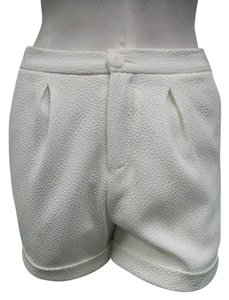 Other Li Gioia Cuffed Shorts Ivory Woven Raised Oval Dot Pattern Pants