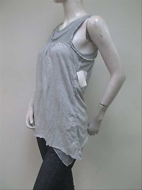 Super Dry White Label Heather Mesh Cotton Layered Slouch Top Gray