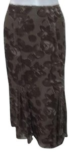 Other Kial Taupe Floral Velvet Silk Blend Burnout Godet 7324 Skirt Brown