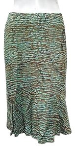 Other Nomadic Traders Elastic Waistband Laguna Trumpet Aqua Green Skirt Brown