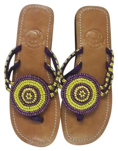 Other Meeka Beaded Flip Flops With Bag Purple Gold Yellow Sandals