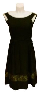 Evan Picone Crepe Lace Belted Dress