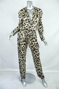GERARD DAREL Cotton Silk Leopard Animal Print Long Dress