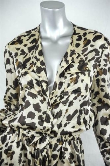 GERARD DAREL Womens Cotton Silk Leopard Animal Print Long Dress