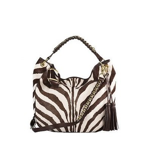 Ralph Lauren Label Haircalf Zebra Chain Tassel Hobo Bag