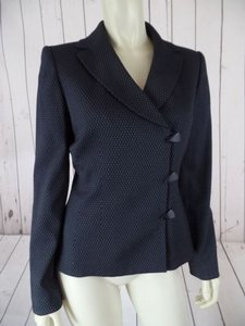 Tahari Tahari Blazer A.s. Levine Off-center Button Up Gray Black Geometric Lined Chic