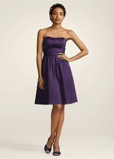 David's Bridal Purple Cotton Sateen Strapless with Ruching and Pockets ( Bridesmaid/Mob Dress Size 14 (L)