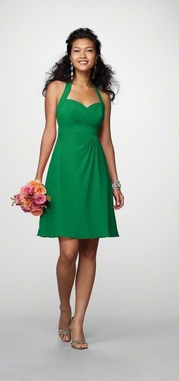 Alfred Angelo Green Chiffon 7172 Casual Bridesmaid/Mob Dress Size 6 (S)