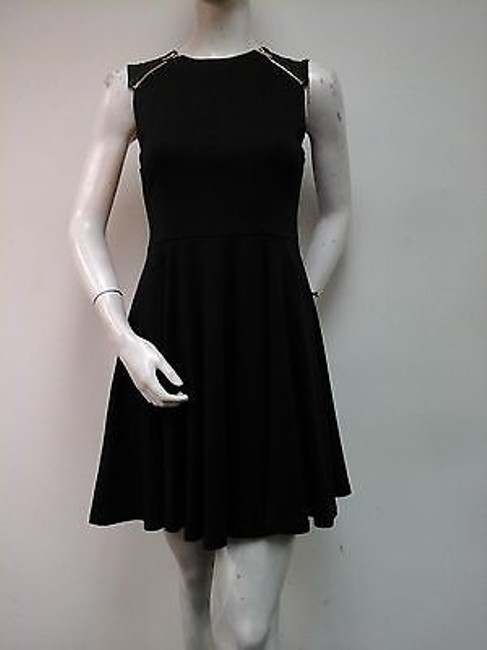 Item - Escapee Black Cap Faux Quilted Leather Sleeve Zip Flare Dress