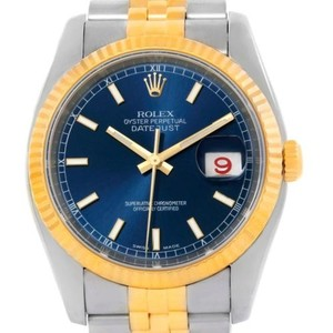 Rolex Rolex Datejust Mens Steel 18k Yellow Gold Blue Dial Watch 116233