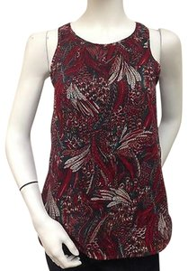 Ladakh Red Green Tan Forest Top Multi-Color