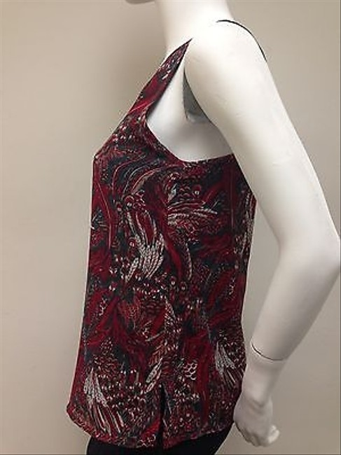 Ladakh Red Green Tan Forest Feathers Print With Tags Top Multi-Color
