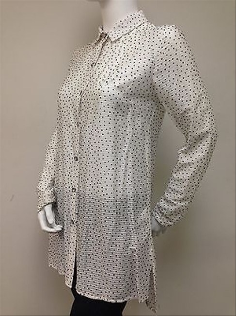 Waverly Grey Blouse Dotted Dots With Tags Tunic