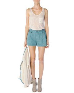 Rag & Bone Womens Bluebird Linen Pleated Tweed Tennis Shorts Blue