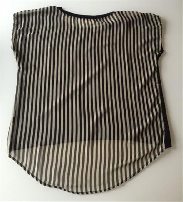 One Clothing Womens Front Pocket Tee Wsheer Stripped T Shirt Black/White
