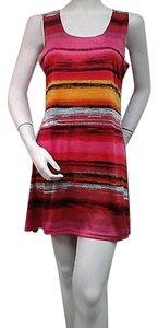 Other Vandana Multicolor Stripe Sleeveless Tank Tunic Stretch Mini Dress