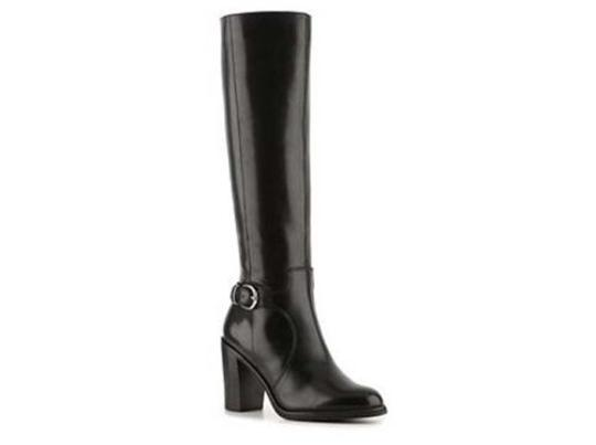 Franco Sarto Carlie Womens Leather Knee High Black Boots