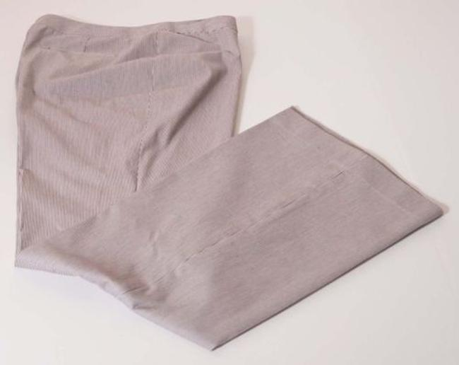 Tahari Terry Womens Brown White Stripe Stretch Flat Front Flare Pants
