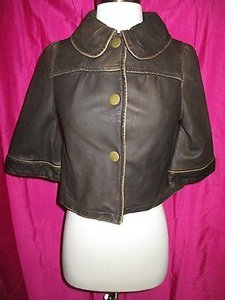 LAmade La Made Lamb Leather Brown Distressed Cropped Swing Jacket 34 Sleeves