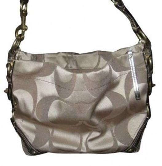 Preload https://item5.tradesy.com/images/coach-carly-signature-metallic-gold-with-sateen-khaki-leather-and-canvas-shoulder-bag-4369-0-0.jpg?width=440&height=440