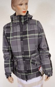 Other 686 Mannual Facet Women Gray Plaid Hooded Insulated Snowboard Ski Coat Multi-Color Jacket
