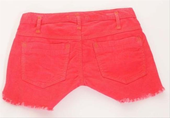 Free People F380p282 Womens Grenadine Corduroy Cut Off Dolphin Hem Shorts Red