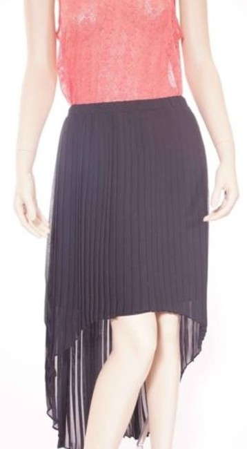Michael Kors Womens Assymetrical Hem Pleated Chiffon Skirt Black