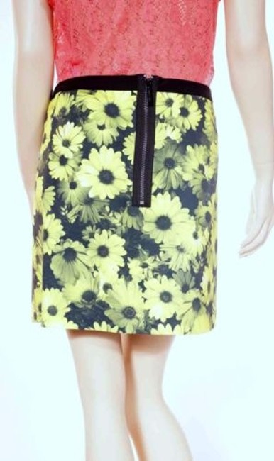 Michael Kors Womens Floral Striped Lined Stretch Mini Skirt Green