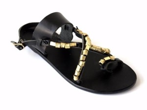 Ancient Greek Sandals Womens Black Leather Gold Beaded Strappy Sandals