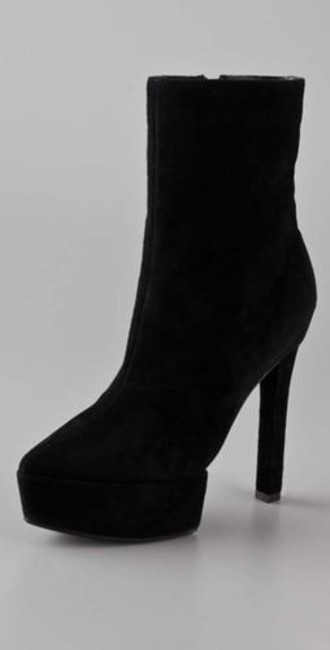 Theyskens Theory Womens Black Suede Leather Heels Stil Platform Bootie Boots Theyskens Theory Womens Black Suede Leather Heels Stil Platform Bootie Boots Image 1