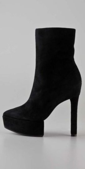 Theory Theyskens Womens Suede Leather Heels Stil Platform Black Boots