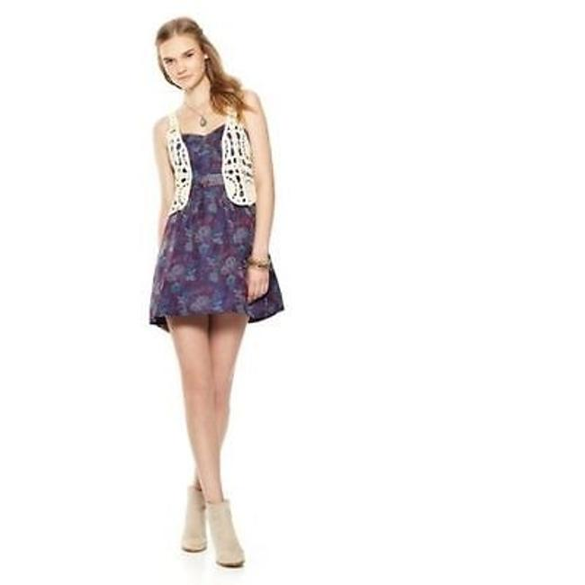 People Womens Purple Foiled Tapestry Floral Lined Strap Dress F290y542 People Womens Purple Foiled Tapestry Floral Lined Strap Dress F290y542 Image 1