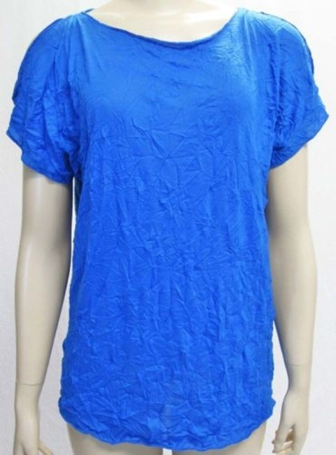 Preload https://item3.tradesy.com/images/jones-york-womens-cove-blue-crinkle-cold-shoulder-short-sleeve-blouse-top-4371862-0-0.jpg?width=400&height=650
