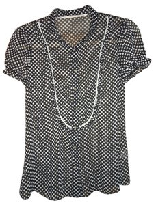 Twelfth St. by Cynthia Vincent Sheer Polka Dot Classic Top Black