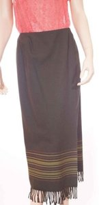 Other Valerie Stevens Womens Wool Faux Wrap Maxi Long 6p Petite Skirt Green