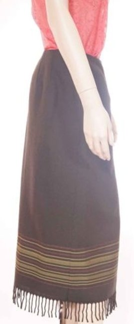 Other Valerie Stevens Womens Wool Faux Wrap Maxi Long 6p Petite Skirt Green Image 1