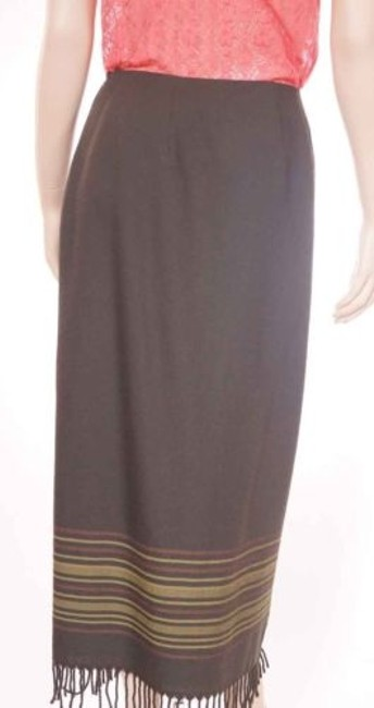 Other Valerie Stevens Womens Wool Faux Wrap Maxi Long 6p Petite Skirt Green Image 3