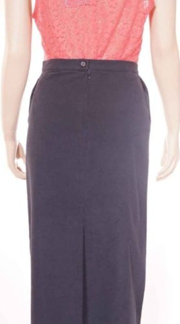 Elie Tahari Womens Lined Alexandra Straight Maxi Skirt Navy