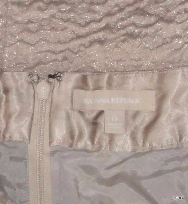Banana Republic Gold Metallic Straight Pencil Puckered Textured Skirt Beige