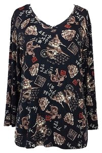 Chico's Travel Knit Black Print Top Multi-Color