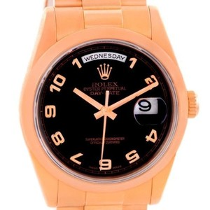 Rolex Rolex President Day Date Mens 18k Rose Gold Black Dial Watch 118205